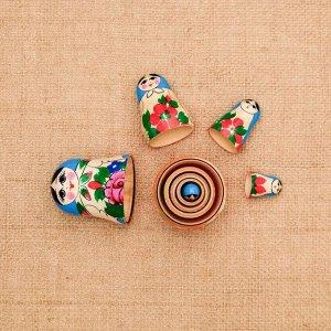 Матрёшка «Семёновская», голубой платок, 5 кукольная, 8-10  см, микс