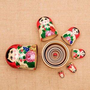 Матрёшка «Семёновская», красный платок, 7 кукольная, 20-22см