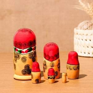Матрёшка «Семёновская», красный платок, 6 кукольная, 12-15см