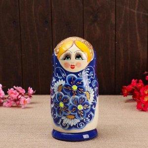 """Матрёшка 5-ти кукольная """"Сима"""" синяя , 17-18см, ручная роспись."""