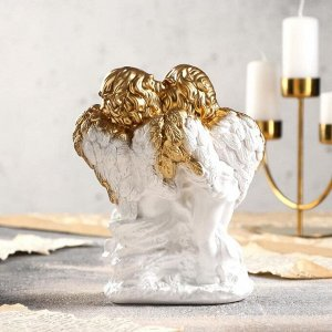 """Статуэтка """"Ангелы пара на камне"""" 21 см, бело-золотой"""