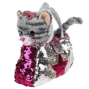F80179-17B Мягкая игрушка кошка 17см в сумочке из пайеток в пак. МОЙ ПИТОМЕЦ в кор.24шт