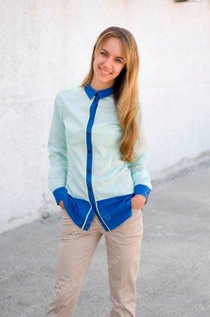 Блуза №5 Коллекция: RUBASHKA Материал: 65% полиэстер, 35% хлопок Возраст: старшая школа Блуза для девочки прилегающего силуэта. Основной цвет блузы - зеленый. Нижняя часть блузы, воротник, планка, ман