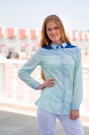 Блуза №6 Коллекция: RUBASHKA Материал: 65% полиэстер, 35% хлопок Возраст: старшая школа Блуза для девочки прилегающего силуэта. Основной цвет блузы - зеленый. Кокетка на спинке и полочке из хлопков ра