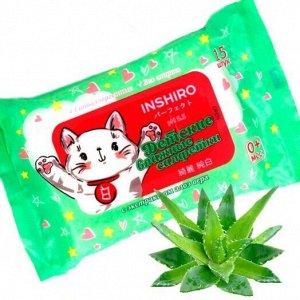 Салфетки влаж. детские INSHIRO экстракт алоэ 15шт/упак. 1/100