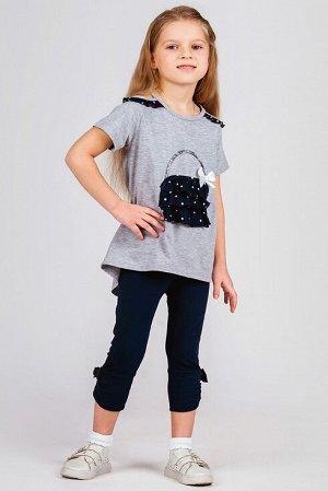 """Серо-синий Описание: Легкий и практичный комплект для девочки. Туника с удлиненной спинкой и бриджи, нашивка \СУМОЧКА\"""" на полочке. Примечание: замеры длин соответствуют размеру 104. Длина туники спер"""