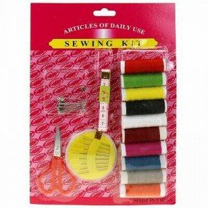 Набор для шитья 14 предметов: цветные нитки - 10 штук; ножни