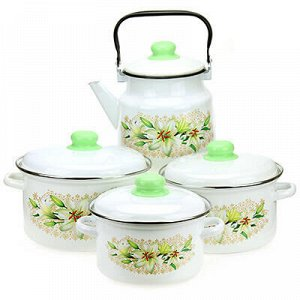 """Набор эмалированной посуды """"Белая лилия"""" 4 предмета: кастрюл"""