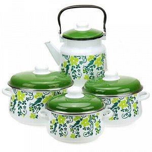 """Набор эмалированной посуды """"Глория"""" 4 предмета: кастрюля - 2"""