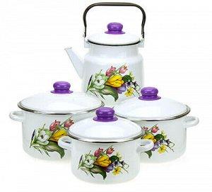 """Набор эмалированной посуды """"Крокусы"""" 4 предмета: кастрюля -"""