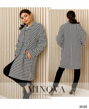 Пальто №283-черно-белый