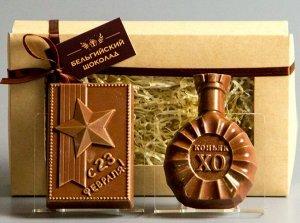 Шоколадные фигурки 2в1 «С 23 февраля + Коньяк XO»