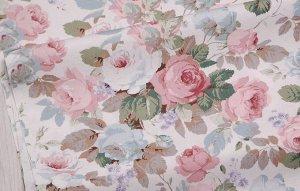 Ткань Сатин - Розы на белом фоне 0,5*1,6м