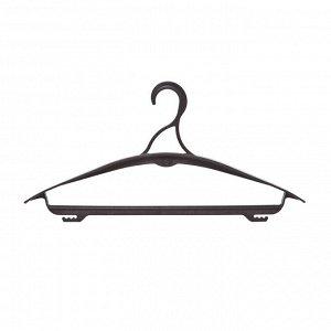 Вешалка-плечики OfficeClean, пластик, плоская, перекладина, крючки, 42см (р.46-50), цвет черный