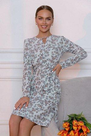 Платье Размер: 42 / 46 / 48 Природный мотив платья модели 4685 напоминает о наступающей весне. Нежные, прозрачные оттенки небесного с тонким узором просто созданы для деликатных и сентиментальных нату