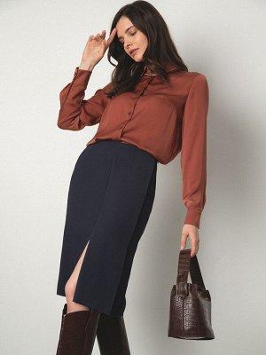 Юбка Состав ткани: Вискоза 55%, Полиэстер 45% Описание модели Фокус на оригинальность. Прямая юбка может смотреться ультрамодно, если имеет интересный крой. Дизайнеры соединили разрез спереди, складку
