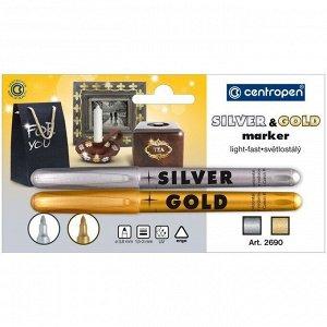 """Набор маркеров для декорирования Centropen """"2690"""" золото,серебро, 2шт., пулевидный, 1,5-3мм, блистер"""