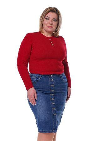 Юбка-4281 Юбка джинсовая на пуговках синяя     Стильная юбка из мягкого джинсового материала с добавлением стрейча. Притачной пояс и кокетка по спинке способствуют оптимальной посадке по фигуре. Фу