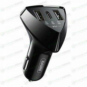 Зарядное устройство в прикуриватель Remax Alien Pro 12/24В, 2xUSB (5В, 3.4А макс.), 1xUSB Type-C PD (5В/3.1А, 7В/2.4А, 9В/2А, 12В/1.5А), 52Вт, черное, быстрая зарядка Quick Charge 3.0, арт. RCC-214
