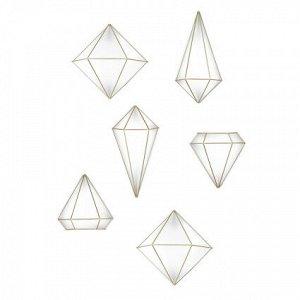 Декор для стен Prisma латунь набор 6 шт