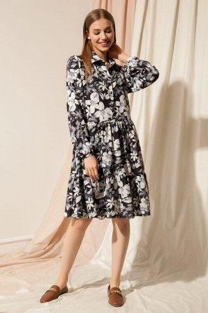 Платье женское Цветы чёрно-белые
