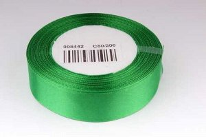 Однотонная атласная лента (зеленый), 25мм * 25 ярдов (+-1)