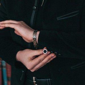 """Запонки стальные """"Классика"""" круг с эмалью, окантовка с орнаментом, цвет чёрный серебре"""