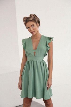 Платье-мини из крепа с акцентом на декольте 0 0 0 0
