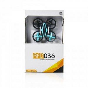 Квадрокоптер р/у  Мини-дрон RFD036,8,5 см , 4 канала, 3D трюк,свет. цв. голубой ,22*13*5 см