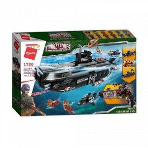 """Конструктор пласт. """"QMAN"""" 1196 дет. Боевая зона:Подводная лодка-акула,8*40*62 см"""