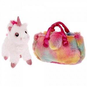 """Мягкая игрушка """"Мой питомец"""" Единорог 15см, в радужной сумочке ,5*20*20 см"""