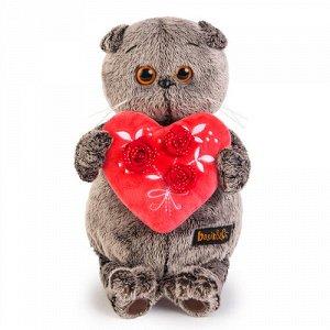Игрушка мягк. Басик с красным сердечком,22 см
