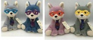 Мягкая игрушка Волчонок в очках и галстуке,в ассорт,25 см