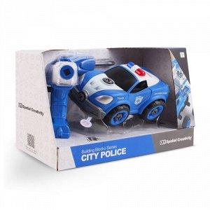 """Набор игровой """"Lei Meng"""" Машина полиции(19 см. шуруповерт-двиг.,отвертка,звук),13*19*33 см"""