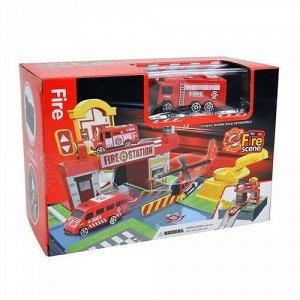 """Набор игровой """"Парковка-чемоданчик:Станция пожарных"""" (1 машина, 3 этажа) 36,5*21,5*16,5 см"""