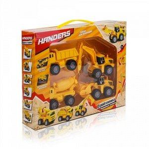 """Набор игровой Handers """"Стройтехника"""" 10 см, (грузовик,бетоновоз,автомолот,каток),29*6*22 см"""