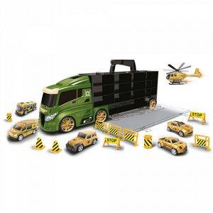 Набор машинок Handers Мега Трейлер:армия (5 машин,вертолет,10 аксесс,) кейс с ручкой 51,5*10*16,5 см
