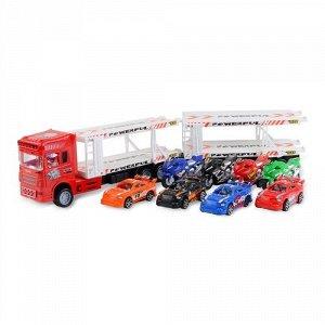 Набор машинок Handers Трейлер с прицепом:супер гонки (4 квадр,4 машин, трейлер 58 см) цв. красный