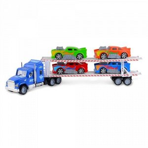 Набор машинок Handers Трейлер:супер тачки (4 машин.,трейлер 58 см, ) цв. синий