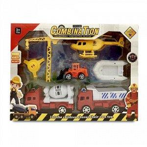 """Игровой набор """"Инженерная техника"""" (2 машины,кран,вертолет,лодка,погрузчик),34*6*25 см"""