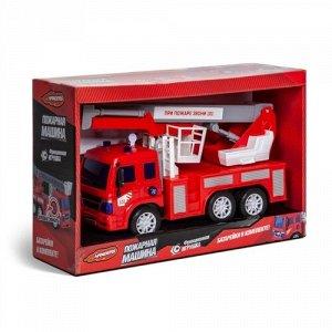"""Машина инерц.  """"Handers"""" Пожарная машина:Автовышка 26 см, свет,звук, подвижн. детали ,30*10*20 см"""