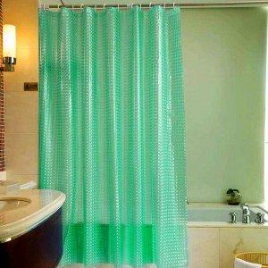 Штора для ванной виниловая, зелёная