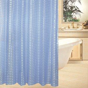 Штора для ванной виниловая, синяя с узором