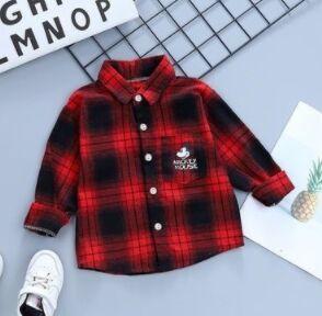 Рубашка на флисе красная399