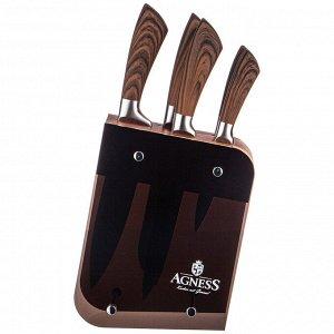 Набор НАБОР НОЖЕЙ AGNESS НА ПОДСТАВКЕ, 6 ПРЕДМЕТОВ  Материал: Нержавеющая сталь/ Пластик/Дерево Нож -  главный инструмент на кухне, а вернее ножи, т.к. даже самый лучший нож не сможет справиться со в