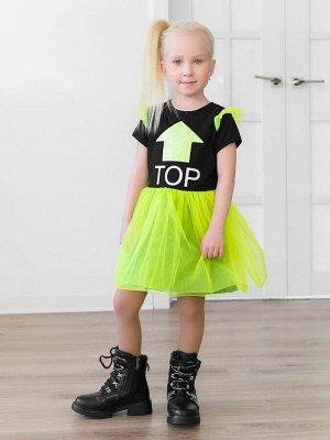 Платье Нарядное платье из кулирки черного цвета для девочки с короткими рукавами. Юбка многослойная: нижняя - из кулирного полотна, верхняя - из 4-х слоев воздушной сетки. Рукав украшен двойными крылы