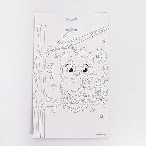 Аппликация пайетками «Милая сова» + 5 цветов пайеток по 7 г