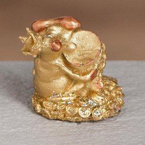 "Статуэтка ""Бык с кувшином денег"", символ года 2021,золотистый, 5 см, полистоун"