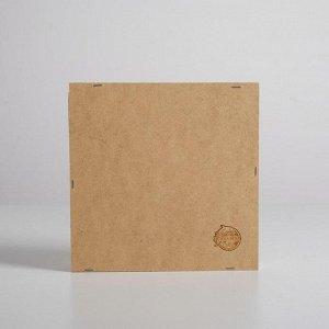 Ящик-кашпо подарочный «Перья». 2 ячейки. 20 ? 20 ? 4.5 см