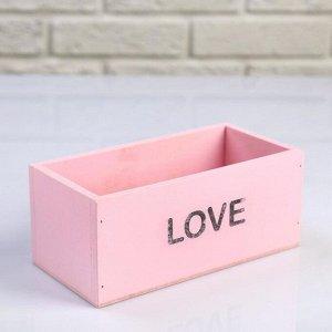 """Кашпо деревянное 20?10?8 см """"Элегант, LOVE"""", розовое"""